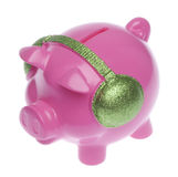 Piggy Bank with Headphones Stock Photo
