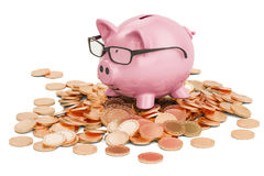 Piggy bank on heap of golden coins, 3D rendering Stock Photography