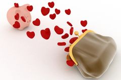 Piggy bank and hearts flying out of the purse Royalty Free Stock Images
