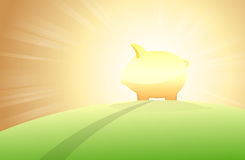 Piggy Bank on a Hill Stock Images