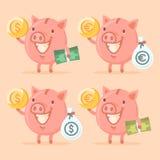 Piggy bank holding money Royalty Free Stock Photography