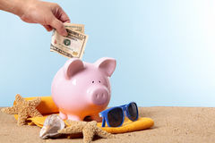 Piggy Bank holiday savings, travel money, retirement fund concept Royalty Free Stock Images