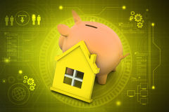 Piggy bank with home. In color background Royalty Free Stock Images