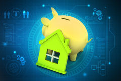 Piggy bank with home. In color background Stock Image
