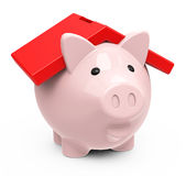The piggy bank house. 3d generated picture of a piggy bank with house roof Royalty Free Stock Images