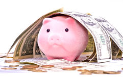 Piggy bank in house from dollars Royalty Free Stock Photos