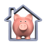 Piggy Bank and House Icon. On white background. 3D render Stock Photo