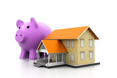 Piggy bank and a house model. 3d piggy bank and a house model Royalty Free Stock Images