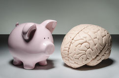 Piggy bank and human brain Stock Photography
