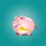 Piggy bank  icon with blank vector illustration Royalty Free Stock Photos