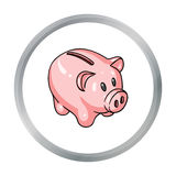 Piggy bank icon in cartoon style isolated on white background. Money and finance symbol. Vector illustration Stock Images