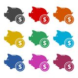 Piggy bank icon, color icons set. Simple vector icon Stock Photography