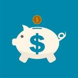 Piggy bank icon, dollar sign Stock Photos