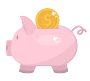 Piggy bank icon, flat design. Pig moneybox isolated on white background. Vector illustration, clip art. Piggy bank icon, flat design. Pig moneybox isolated on Stock Images