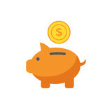 Piggy bank icon in flat style. Vector Illustration. Royalty Free Stock Photo