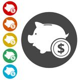 Piggy bank icon. Simple  icons set Royalty Free Stock Image