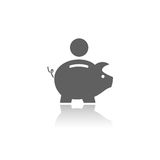 Piggy bank icon. With reflection on a white background Stock Images