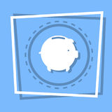 Piggy Bank Icon Savings Money Concept Web Button. Flat Vector Illustration Stock Photos