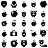 Piggy bank icon set. The piggy bank icon set Stock Image