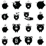 Piggy bank icon set. The piggy bank icon set Stock Photography