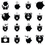 Piggy bank icon set. The piggy bank icon set Royalty Free Stock Photos