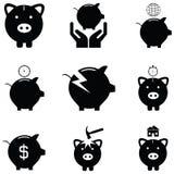 Piggy bank icon set. The piggy bank icon set Stock Images