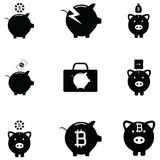 Piggy bank icon set. The piggy bank icon set Royalty Free Stock Images