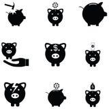 Piggy bank icon set. The piggy bank icon set Stock Photo