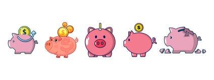 Piggy bank icon set, cartoon style. Piggy bank icon set. Cartoon set of piggy bank vector icons for web design isolated on white background Stock Photos