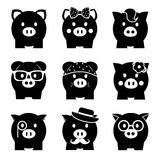Piggy bank icon set. Front view Stock Photos