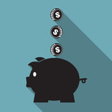 Piggy bank icon set. Piggy bank icon, Saving money Stock Image