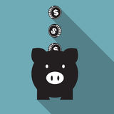 Piggy bank icon set. Piggy bank icon, Saving money Royalty Free Stock Photography