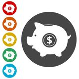 Piggy bank icon. Simple  icons set Stock Photography