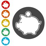 Piggy bank icon. Simple vector icons set Stock Photos