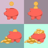 Piggy bank icon in style of flat design. Stock Photography
