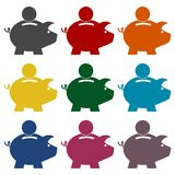 Piggy bank icons set. Piggy bank icon, vector icon Royalty Free Stock Photography