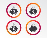 Piggy bank icons. Dollar, Euro, Pound moneybox. Piggy bank icons. Dollar, Euro and Pound moneybox signs. Cash coin money symbols. Infographic design buttons Royalty Free Stock Photos