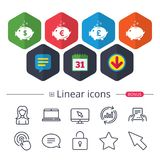 Piggy bank icons. Dollar, Euro, Pound moneybox. Piggy bank icons. Dollar, Euro and Pound moneybox signs. Cash coin money symbols. Chat, Report graph line icons Royalty Free Stock Photo
