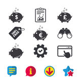 Piggy bank icons. Dollar, Euro, Pound moneybox. Piggy bank icons. Dollar, Euro and Pound moneybox signs. Cash coin money symbols. Browser window, Report and Royalty Free Stock Photos