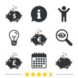 Piggy bank icons. Dollar, Euro, Pound moneybox. Piggy bank icons. Dollar, Euro and Pound moneybox signs. Cash coin money symbols. Information, light bulb and Stock Images