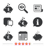 Piggy bank icons. Dollar, Euro, Pound moneybox. Piggy bank icons. Dollar, Euro and Pound moneybox signs. Cash coin money symbols. Newspaper, information and Stock Images