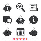 Piggy bank icons. Dollar, Euro, Pound moneybox. Piggy bank icons. Dollar, Euro and Pound moneybox signs. Cash coin money symbols. Newspaper, information and Royalty Free Stock Photos