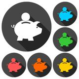 Piggy bank icons set with long shadow. Vector icon Stock Photography