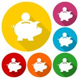 Piggy bank icons set with long shadow. Vector icon Stock Image