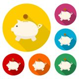 Piggy bank icons set with long shadow. Vector icon Royalty Free Stock Photo