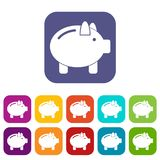 Piggy bank icons set. Vector illustration in flat style In colors red, blue, green and other Stock Photography