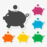 Piggy bank icons stickers set. Vector icon Stock Photos