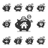 Piggy bank icons. Vector illustrations Royalty Free Stock Photography