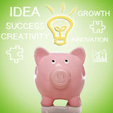 Piggy Bank with Idea Lightbulb Royalty Free Stock Photography