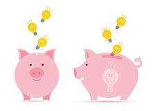 Piggy bank with idea. Royalty Free Stock Images
